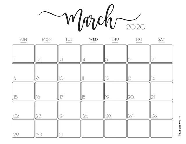 Calendario elegante mujer marzo 2020