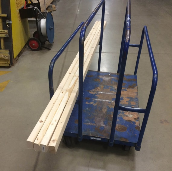 wood and supplies for giant jenga game