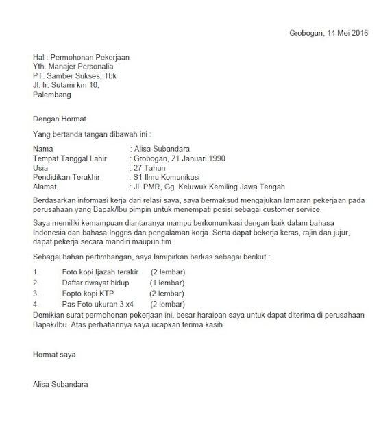 Contoh Surat Lamaran Kerja Umum (via: seruni.id)