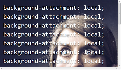 Screenshot from slides showing background-attachment local