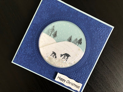 Hand made Christmas shaker card with stamped winter scene decorated with glitter