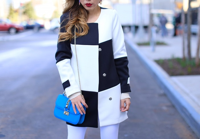 Shein black and white color block coat, asos jeans, as seen on me, valentino lock bag, alice and olivia pumps, spring outfit, nyc street style, nyc fashion blog