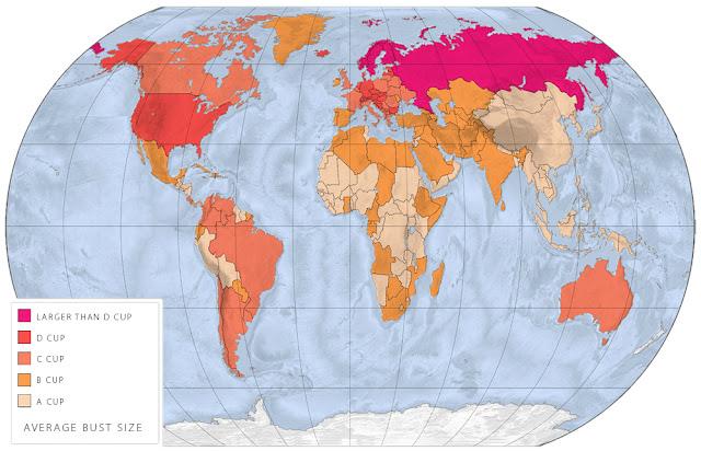 Карта мира где живут женщины с разным размером груди