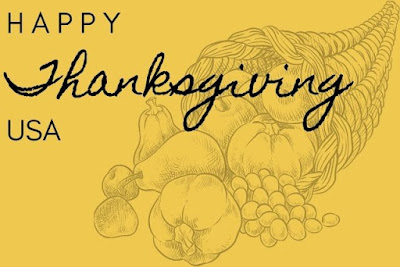 Happy USA Thanksgiving day written on yellow background with fruits images.