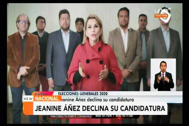 """Jeanine Añez confirma que baja su candidatura: """"Si no nos unimos, vuelve Morales"""""""