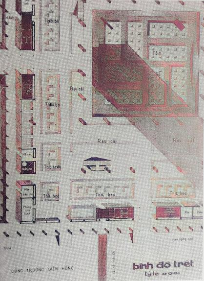 Bình đồ trệt chợ Bến Thành 1971
