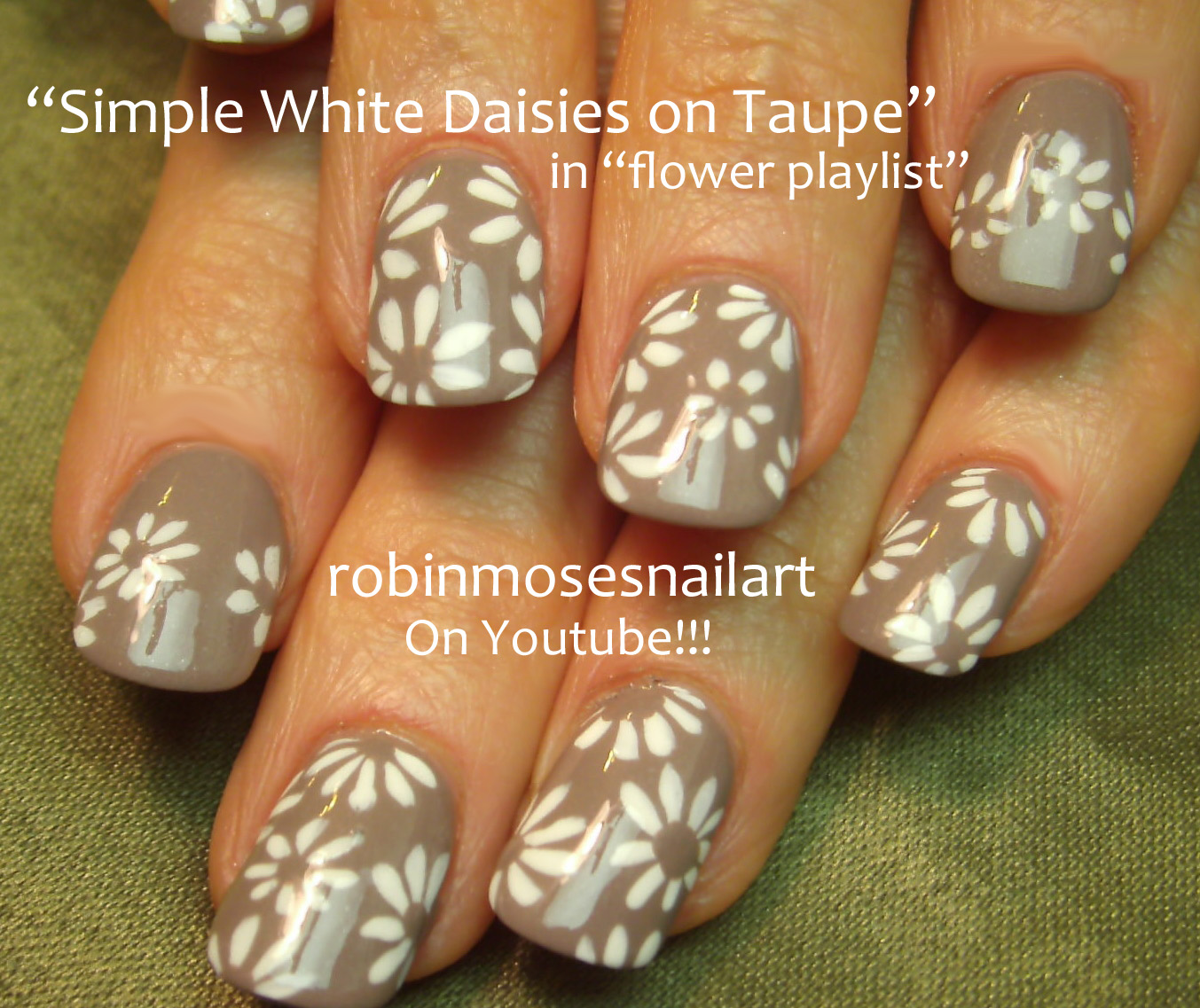 Nail Art by Robin Moses: Taupe Flower Nail Art, Wedding Nail art ...