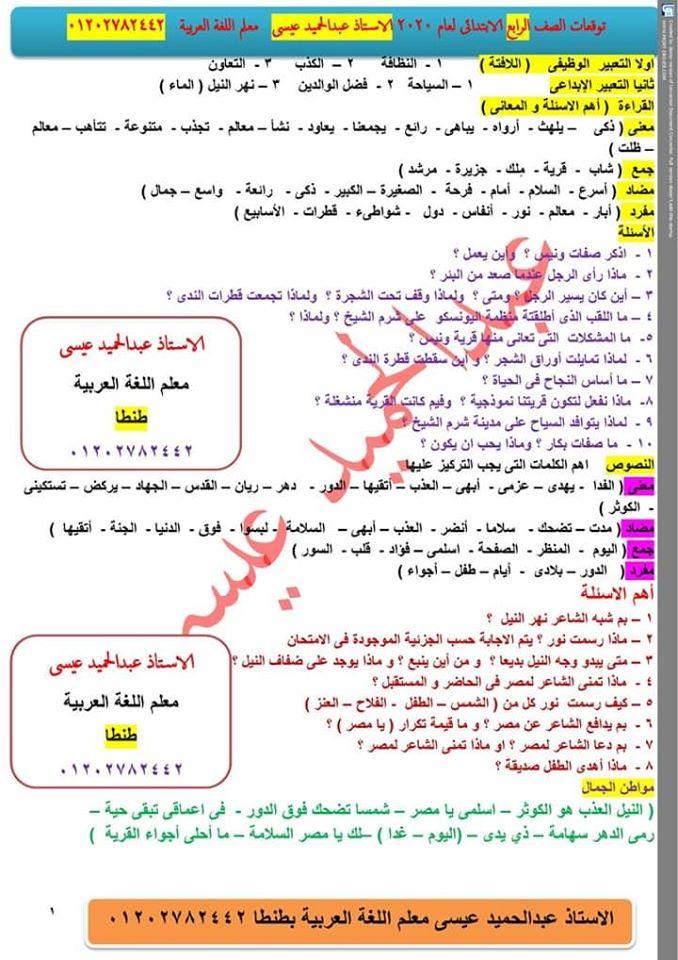 توقعات امتحان اللغة العربية الصف الرابع و الخامس و السادس الابتدائي ترم أول 2020 أ/ عبد الحميد عيسي 1