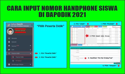 cara input nomor handphone siswa di dapodik 2021