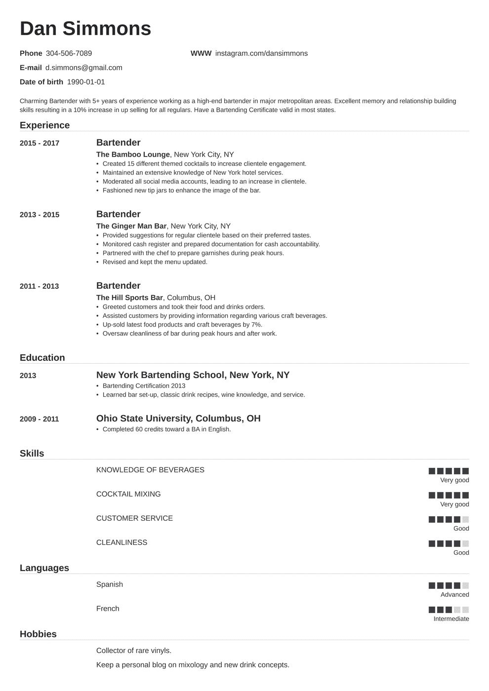 Bartender Resume Templates Free Resume Examples bartender resume templates free bartender resume template bartender resume template microsoft word bartender resume template download bartender resume description sample bartender cv template free bartender resume sample no experience