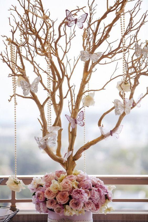 Como hacer un centro de mesa con mariposas - Centros de mesa con pinas secas ...
