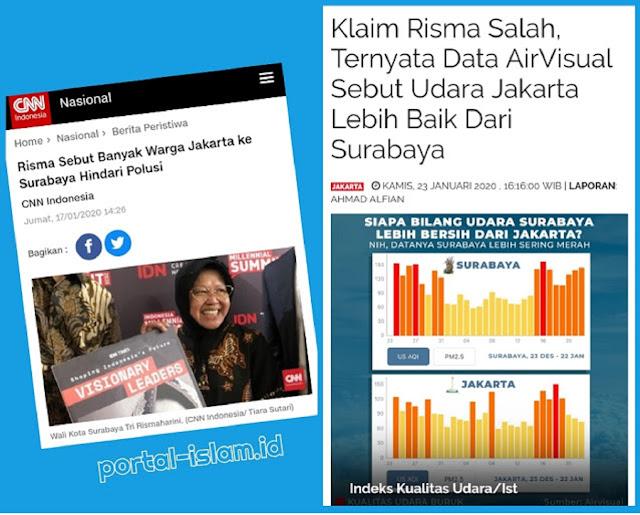 Klaim Risma Salah, Ternyata Data AirVisual Sebut Udara Jakarta Lebih Baik Dari Surabaya