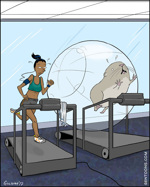 woman running on a treadmill. next to her, also  on a treadmill, is a mega hamster in an exercise ball.