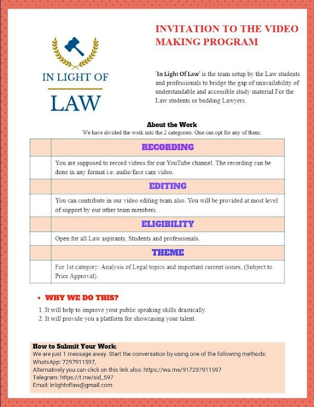 Invitation: Join the Video Making Program Of 'In Light Of Law'