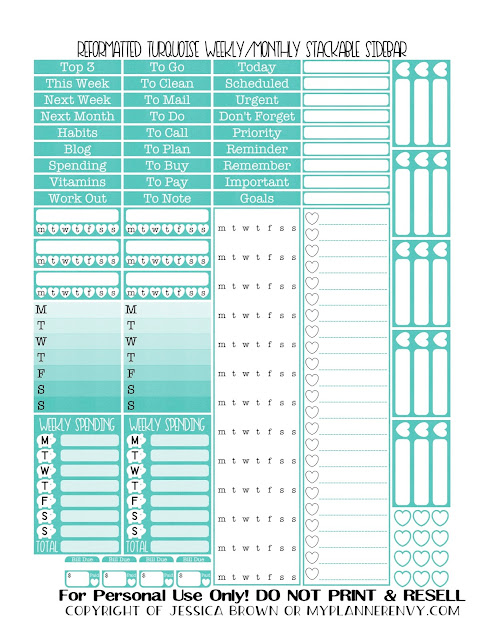 Free Printable Reformatted Weekly/Monthly Stackable Sidebar in Turquoise from myplannerenvy.com