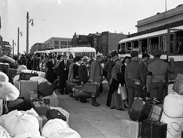 Japanese going into internment in San Francisco, 6 April 1942 worldwartwo.filminspector.com