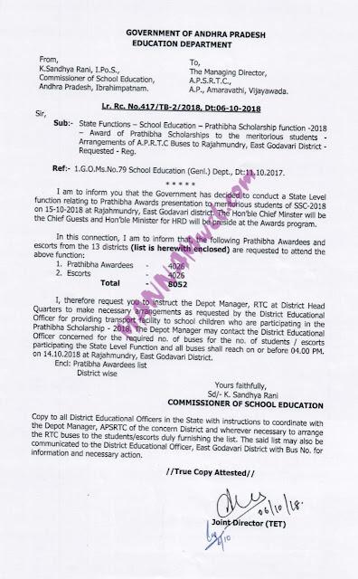 Pratibha Scholarship Function 2018-Arrangements of APSRTC Buses to Pratibha Awardees and 1 Escorts to Rajahmundry Function ,Letter Rc.417,Dt.6/10/18