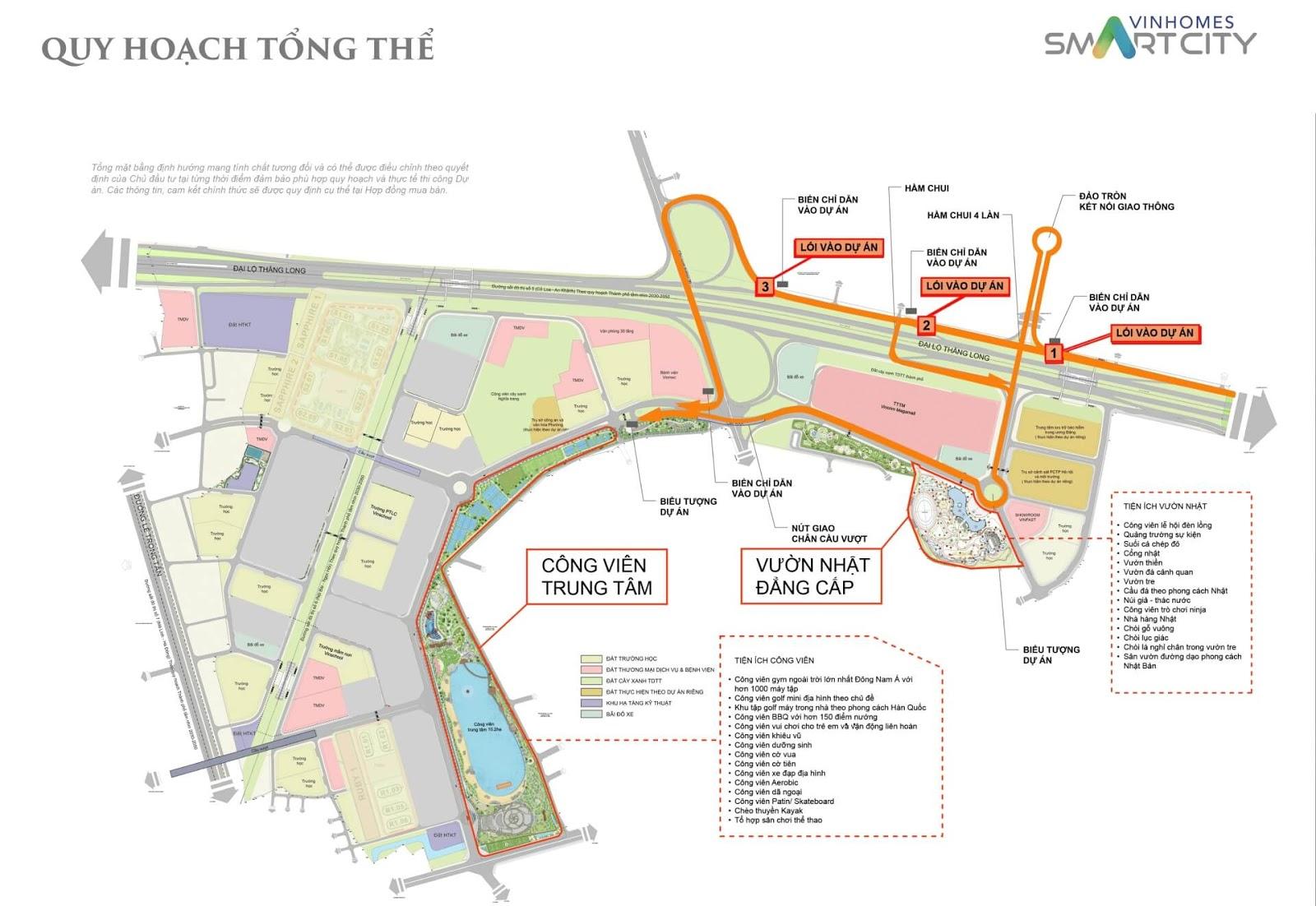 Bản đồ quy hoạch tổng thể Vinhomes Smart City