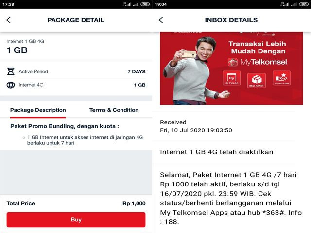 Detail Paket Internet Murah Telkomsel 1000 1GB 7Hari