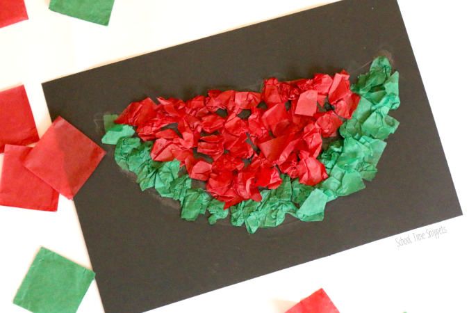 tissue paper watermelon craft for kids