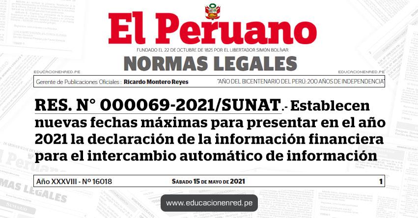 RES. N° 000069-2021/SUNAT.- Establecen nuevas fechas máximas para presentar en el año 2021 la declaración de la información financiera para el intercambio automático de información
