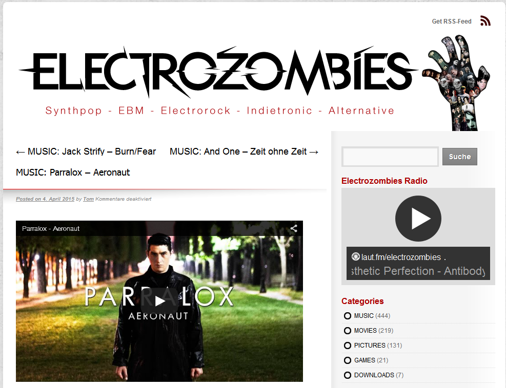 Electrozombies (Germany) feature the Aeronaut Music Video
