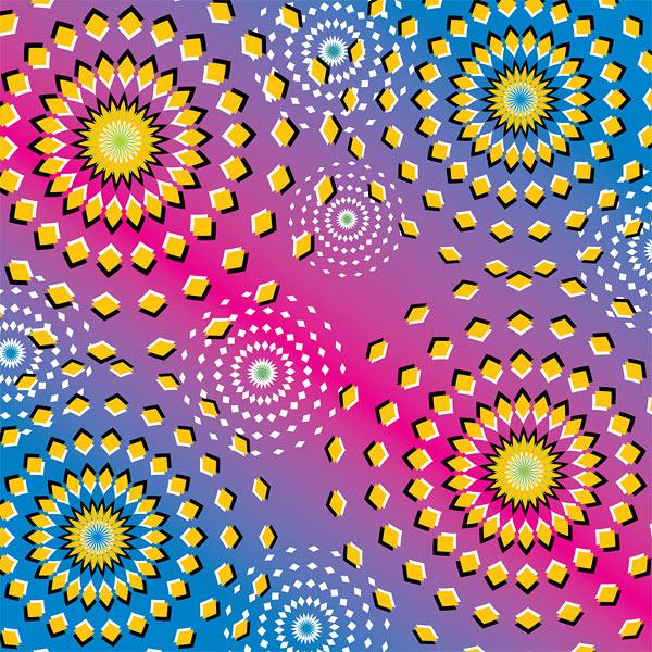 Havai fişek patlamasına benzer şekilde genişleme yanılmasına neden olan renkli desenler