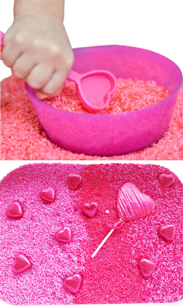 How to color rice for kids sensory activities for valentines day. #dyedriceactivities #howtodyerice #sensoryactivities #growingajeweledrose #activitiesforkids