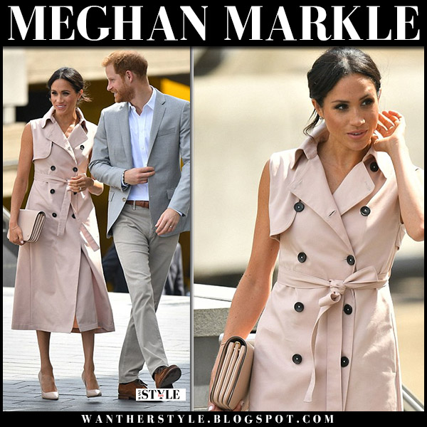 Meghan Markle in pink sleeveless trench coat house of nonie and pink pumps dior essence royal family fashion july 17