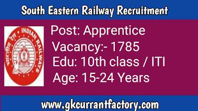 South Eastern Railway Apprentice Recruitment, Railway Jobs