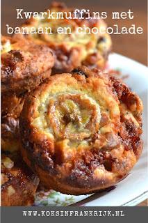 Kwark muffins met banaan, chocolade en noten