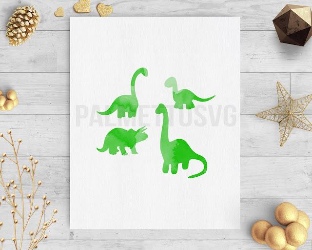 Dinosaurs green watercolor clip art svg dxf silhouette cricut downloads
