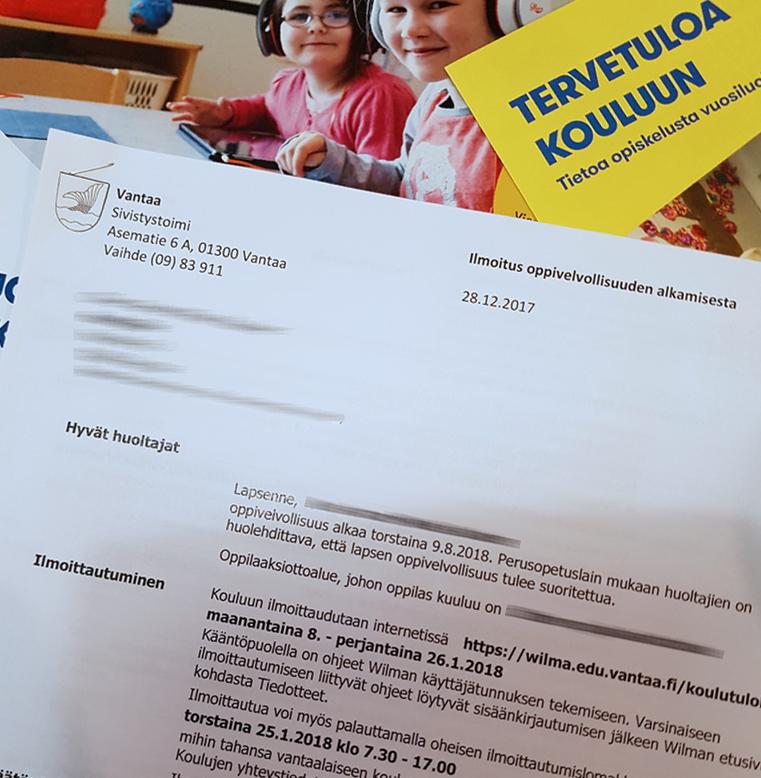 kouluun ilmoittautuminen kirje oppivelvollisuus
