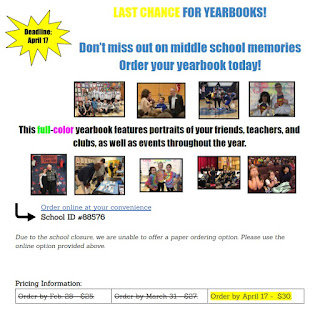 FHS Announcement - Place Your Yearbook Order - Due April 17