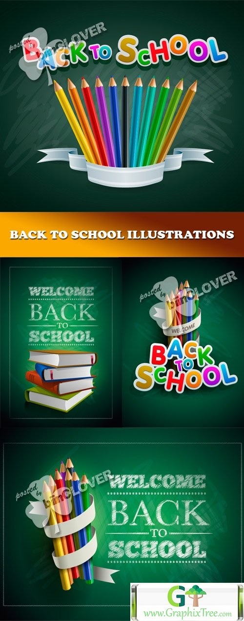 Vector Back to school illustrations 0453