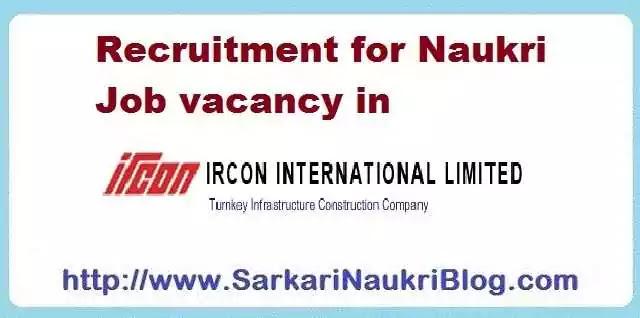Naukri Vacancy Recruitment IRCON International