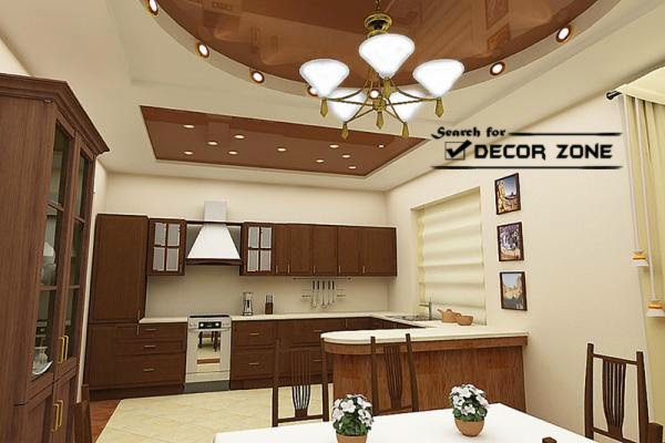 stretch ceiling design for kitchen and dining area