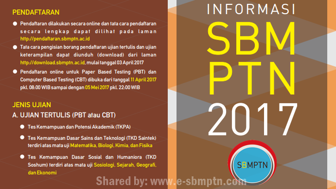 dilakukan secara online melalui laman http SBMPTN 2019: Cara Pendaftaran SBMPTN 2019/2018