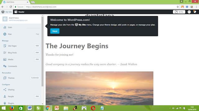 selamat anda telah berhasil membuat blog gratis di wordpress