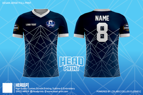 Navy Dark Polygon Element Jersey Full Print Custom - Head Print