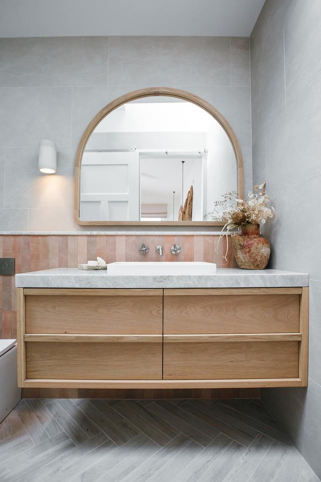 Guest house bathroom with custom oak vanity