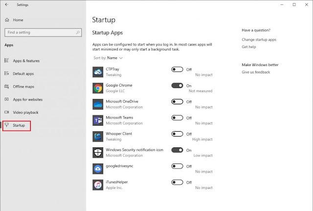 تطبيقات بدء التشغيل Startup Apps