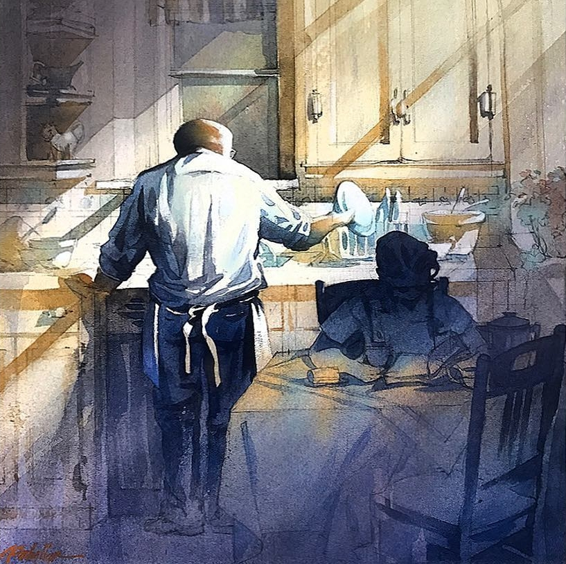 03-Washing Up-Memories-of-grandparents-Thomas-Schaller-Watercolor-Paintings-Indoors-and-Outdoors-www-designstack-co