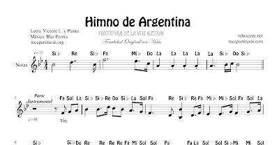 Himno Nacional de Argentina Partitura con Notas Versión de la Letra Cantada en Tono Original para Instrumentos en Clave de Sol