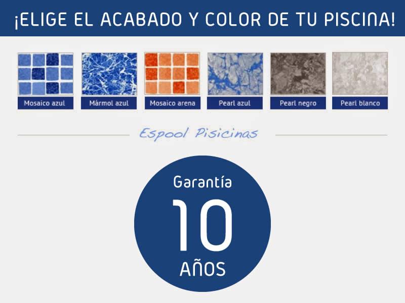 Colores y acabado de lámina armada de la piscina. Garantía de 10 años - Espool Piscinas, Guadalajara – info@espoolpiscinas.es