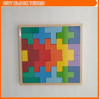 City Block Tetris Mainan Kayu