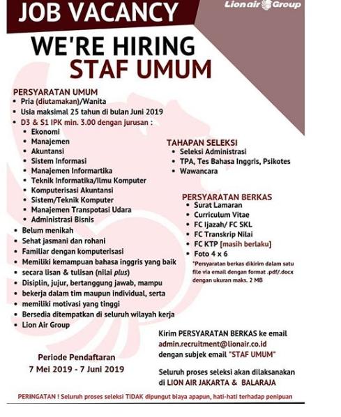 Lowongan Kerja Staff UMUM Lion Air Group Hingga 7 Juni 2019
