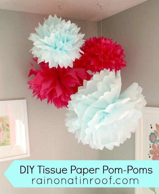 DIY Tissue Paper Pom-Poms {rainonatinroof.com} #DIY #Pom-Pom #nursery #tissuepaper #craft