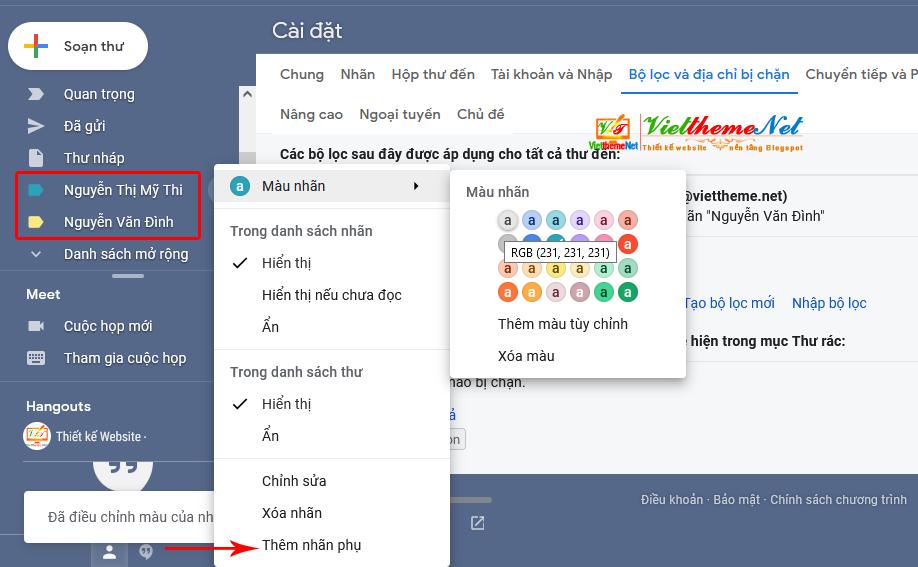 Cách tạo Rule trong Gmail để mail người nào chạy thẳng vào tên người đó