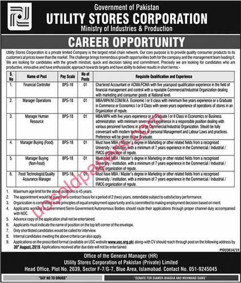 Utility Stores Corporation in Islamabad, Pakistan.   Date Posted:     11 August, 2019       Last Date:         30 August, 2019    Newspaper:      Jang Jobs